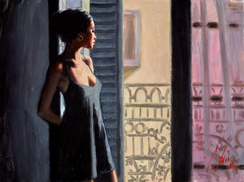 Balcony at Buenos Aires X (Black) by Fabian Perez - Original Painting on Stretched Canvas